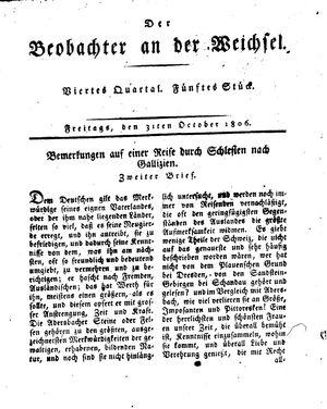 ˜Derœ Beobachter an der Weichsel vom 31.10.1806