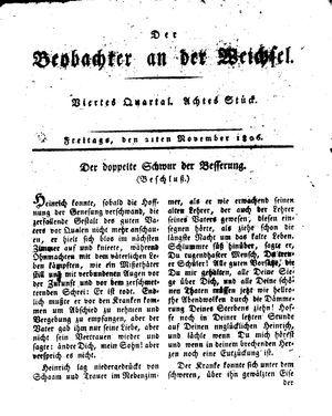 ˜Derœ Beobachter an der Weichsel vom 21.11.1806