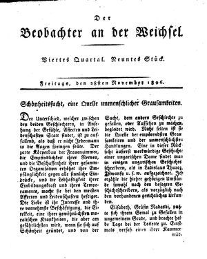 ˜Derœ Beobachter an der Weichsel vom 28.11.1806