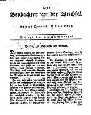 ˜Derœ Beobachter an der Weichsel vom 12.12.1806