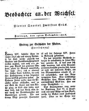 ˜Derœ Beobachter an der Weichsel vom 19.12.1806