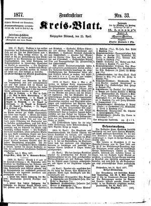 Frankensteiner Kreisblatt vom 25.04.1877