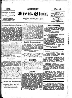 Frankensteiner Kreisblatt vom 07.07.1877