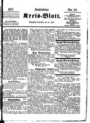 Frankensteiner Kreisblatt vom 21.07.1877