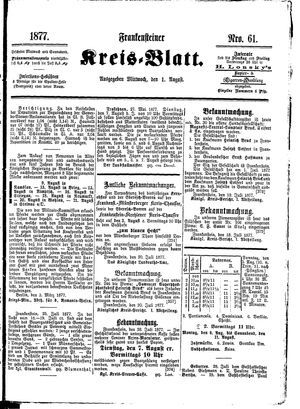 Frankensteiner Kreisblatt vom 01.08.1877