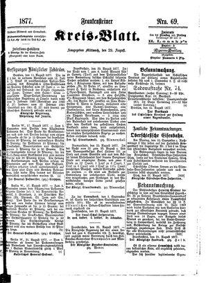Frankensteiner Kreisblatt vom 29.08.1877