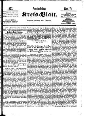 Frankensteiner Kreisblatt vom 05.09.1877
