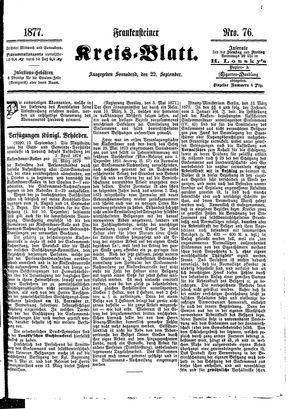 Frankensteiner Kreisblatt vom 22.09.1877