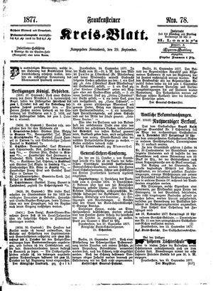 Frankensteiner Kreisblatt vom 29.09.1877