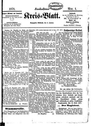 Frankensteiner Kreisblatt vom 02.01.1878