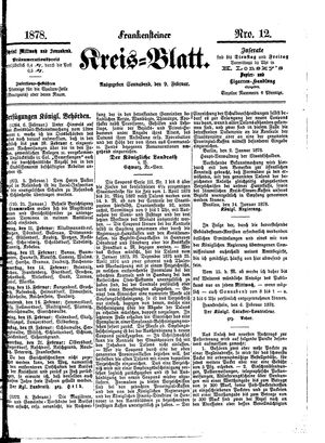 Frankensteiner Kreisblatt vom 09.02.1878