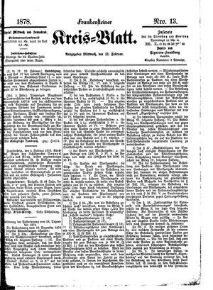 Frankensteiner Kreisblatt vom 13.02.1878