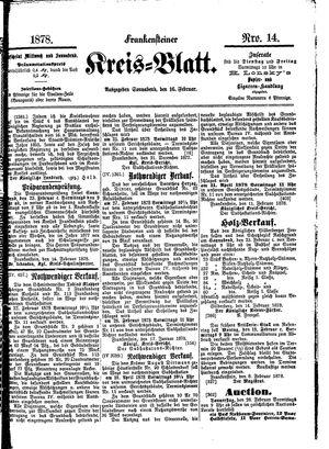 Frankensteiner Kreisblatt vom 16.02.1878