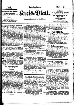 Frankensteiner Kreisblatt vom 23.02.1878
