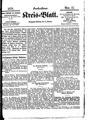 Frankensteiner Kreisblatt vom 27.02.1878