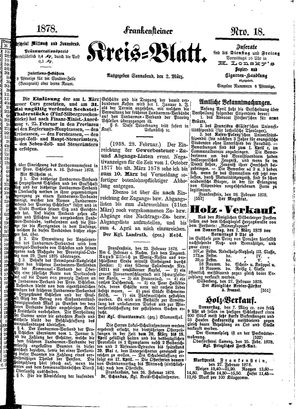 Frankensteiner Kreisblatt vom 02.03.1878