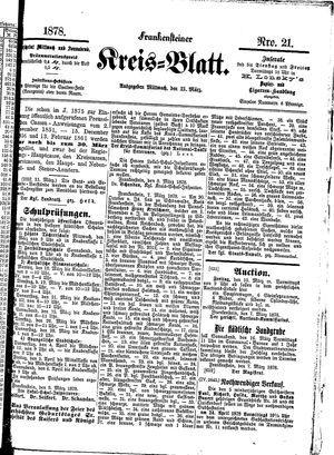 Frankensteiner Kreisblatt vom 13.03.1878