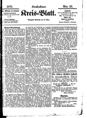 Frankensteiner Kreisblatt vom 27.03.1878