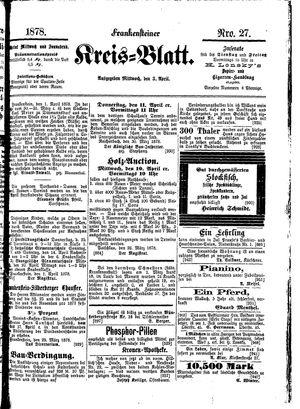 Frankensteiner Kreisblatt vom 03.04.1878
