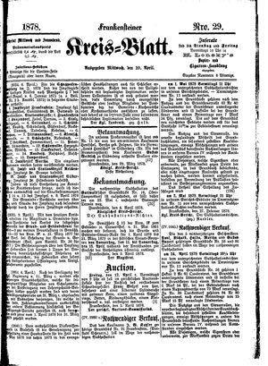 Frankensteiner Kreisblatt on Apr 10, 1878