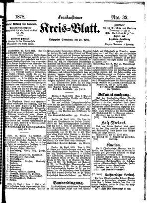 Frankensteiner Kreisblatt vom 20.04.1878
