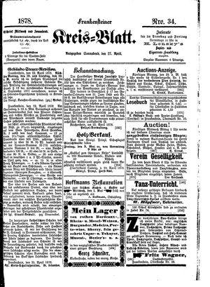 Frankensteiner Kreisblatt vom 27.04.1878