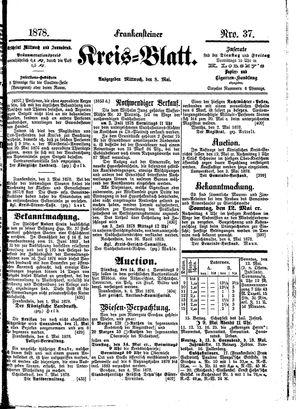Frankensteiner Kreisblatt vom 08.05.1878
