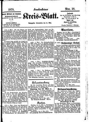 Frankensteiner Kreisblatt vom 11.05.1878