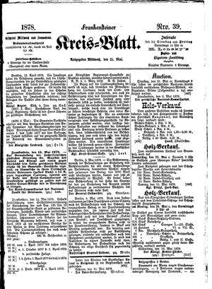 Frankensteiner Kreisblatt vom 15.05.1878