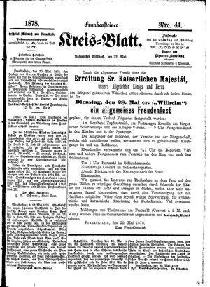 Frankensteiner Kreisblatt vom 22.05.1878