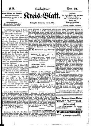 Frankensteiner Kreisblatt vom 25.05.1878