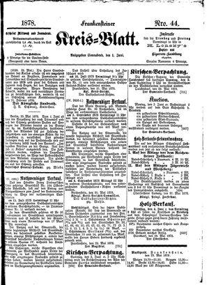 Frankensteiner Kreisblatt on Jun 1, 1878