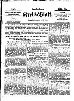 Frankensteiner Kreisblatt vom 08.06.1878