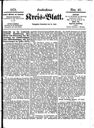 Frankensteiner Kreisblatt vom 15.06.1878