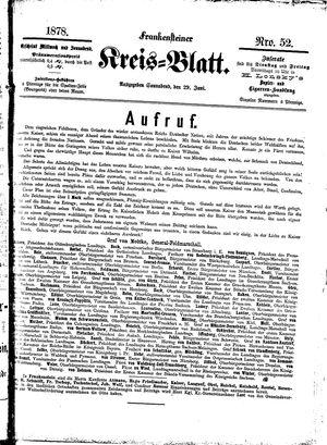 Frankensteiner Kreisblatt vom 29.06.1878