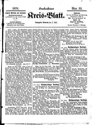 Frankensteiner Kreisblatt vom 03.07.1878