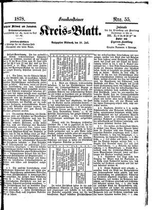 Frankensteiner Kreisblatt vom 10.07.1878