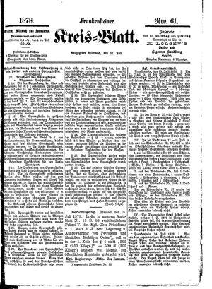 Frankensteiner Kreisblatt vom 31.07.1878