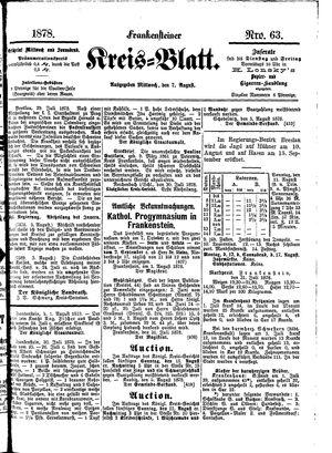 Frankensteiner Kreisblatt vom 07.08.1878