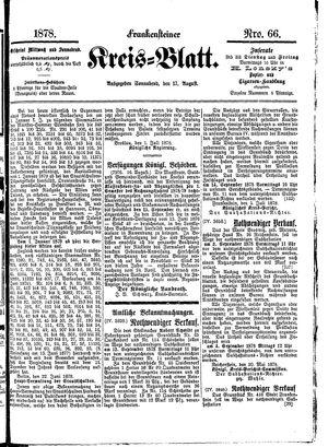 Frankensteiner Kreisblatt vom 17.08.1878
