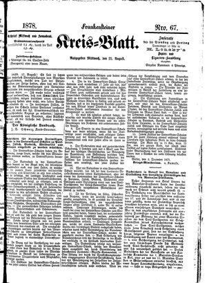 Frankensteiner Kreisblatt vom 21.08.1878