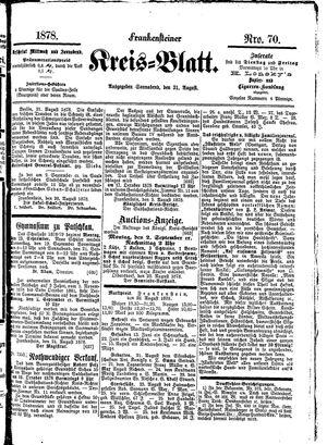 Frankensteiner Kreisblatt vom 31.08.1878