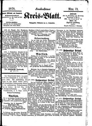 Frankensteiner Kreisblatt vom 04.09.1878