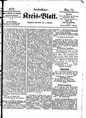 Frankensteiner Kreisblatt vom 07.09.1878