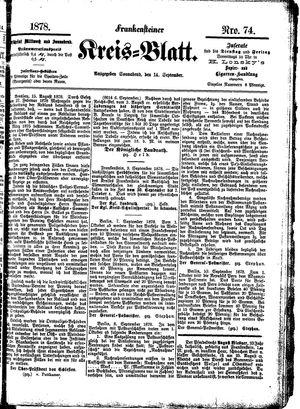 Frankensteiner Kreisblatt vom 14.09.1878
