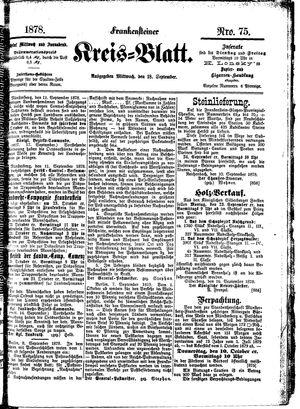 Frankensteiner Kreisblatt vom 18.09.1878