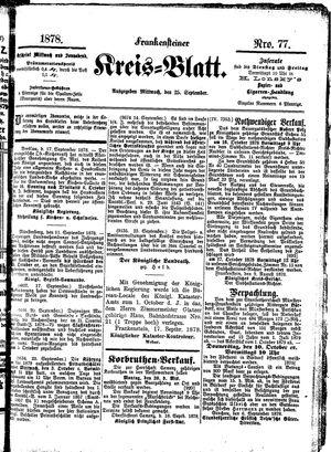 Frankensteiner Kreisblatt vom 25.09.1878