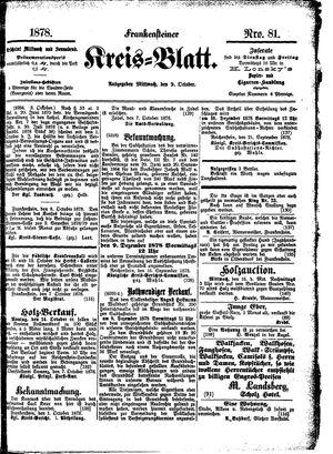 Frankensteiner Kreisblatt vom 09.10.1878