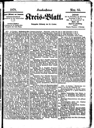 Frankensteiner Kreisblatt vom 23.10.1878