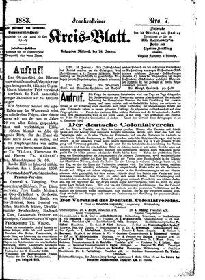 Frankensteiner Kreisblatt vom 24.01.1883